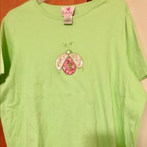 Chartreuse sequined ladybug tee. Maybe worn once.